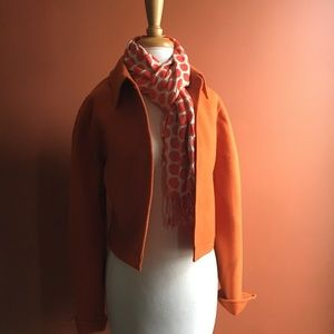 ELLEN TRACY Orange Tangerine Wool Coat Jacket 14